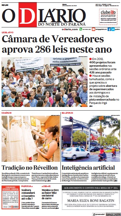 Front page of O Diario do Norte do Parana newspaper from Brazil