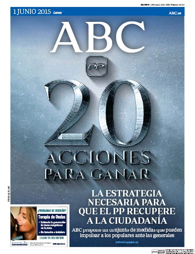 Front page of ABC (Madrid) PD newspaper from Spain