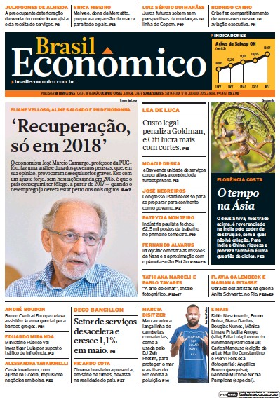 Front page of Brasil Economico newspaper from Brazil