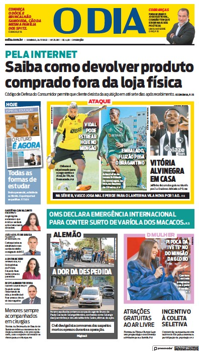 Front page of O Dia newspaper from Brazil