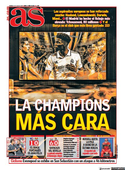 Front page of Diario AS (Aragon) newspaper from Spain