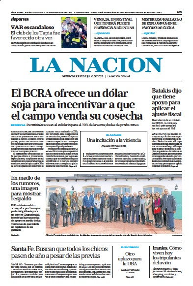 Front page of La Nacion (Combined) newspaper from Argentina