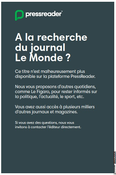 Front page of Le Monde newspaper from France