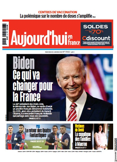 Front page of Aujourd'hui en France newspaper from France