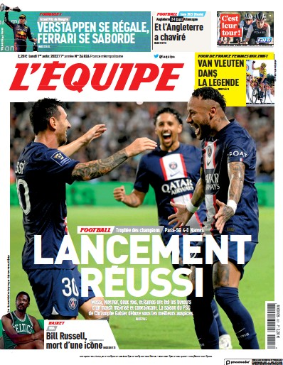 Front page of L'Equipe newspaper from France