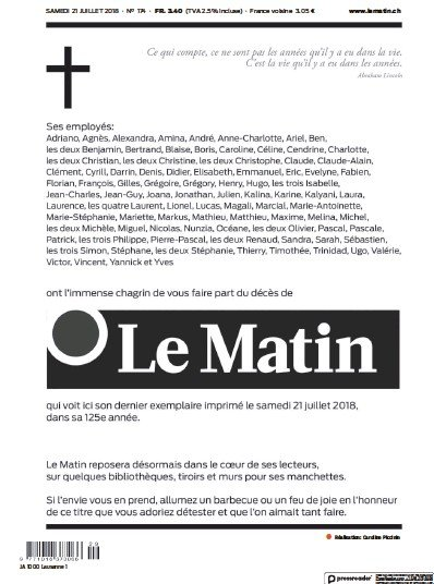 Front page of Le Matin newspaper from Switzerland