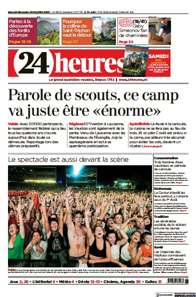 Front page of 24 Heures newspaper from Switzerland