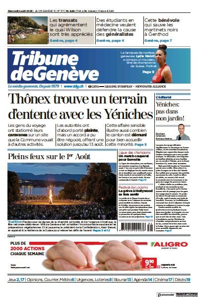 Front page of Tribune De Geneve newspaper from Switzerland