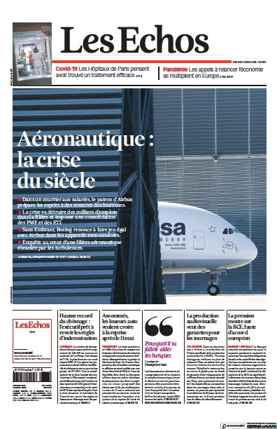 Front page of Les Echos newspaper from France