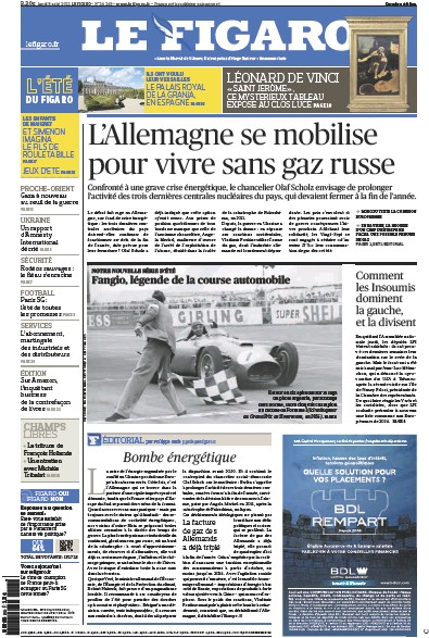 Front page of Le Figaro Online newspaper from France