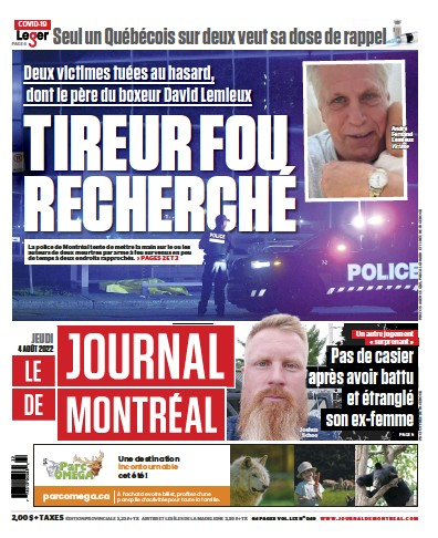 Front page of Le Journal de Montreal Online newspaper from Canada