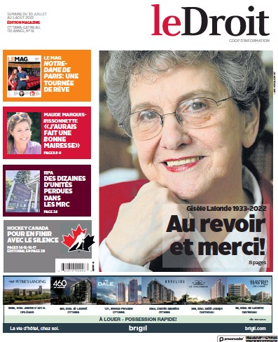 Front page of Le Droit newspaper from Canada
