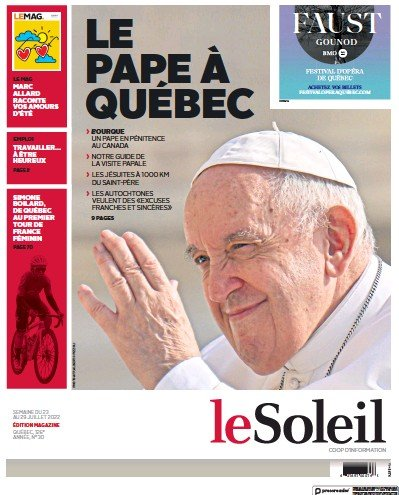 Front page of Le Soleil newspaper from Canada