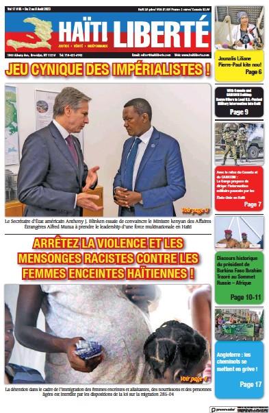 Front page of Haiti Liberte newspaper from Haiti