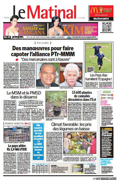 Front page of Le Matinal newspaper from Mauritius