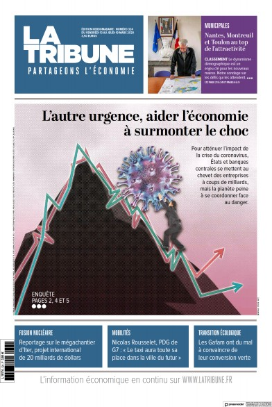 Front page of La Tribune Hebdomadaire newspaper from France