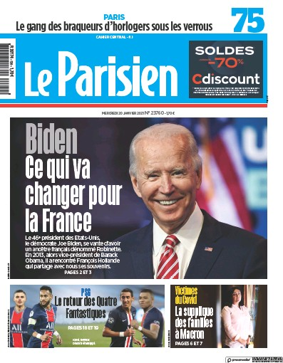 Front page of Le Parisien (Paris) newspaper from France