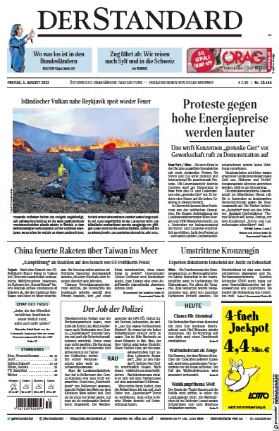 Front page of Der Standard newspaper from Austria