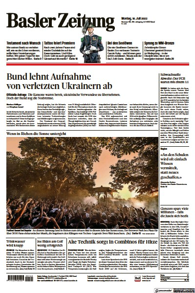 Front page of Basler Zeitung newspaper from Switzerland