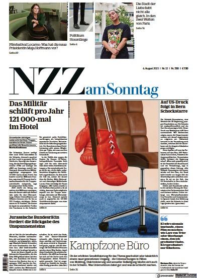 Front page of Neue Zurcher Zeitung am Sonntag newspaper from Switzerland