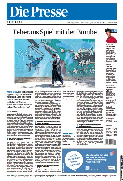 Front page of Die Presse newspaper from Austria