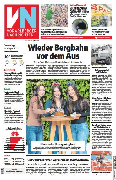Front page of Vorarlberger Nachrichten newspaper from Austria