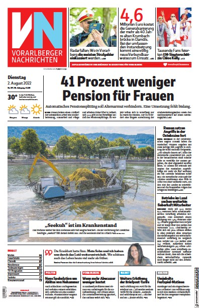 Front page of Vorarlberger Nachrichten newspaper from Austria