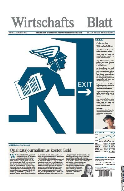 Front page of Wirtschaftsblatt newspaper from Austria
