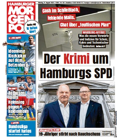 Front page of Hamburger Morgenpost newspaper from Germany