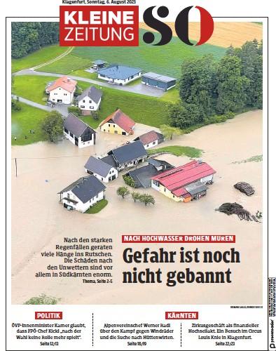 Front page of Kleine Zeitung Karnten newspaper from Austria