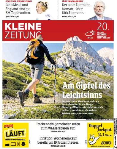 Front page of Kleine Zeitung Karnten newspaper from Austria