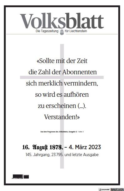 Front page of Liechtensteiner Volksblatt newspaper from Liechtenstein