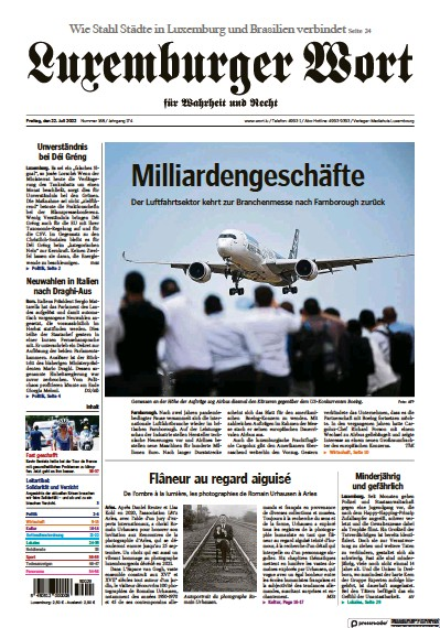 Front page of Luxemburger Wort newspaper from Luxembourg