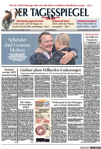Front page of Der Tagesspiegel newspaper from Germany