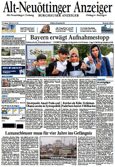 Front page of Alt-Neuottinger Anzeiger newspaper from Germany
