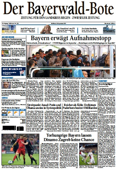 Front page of Der Bayerwald-Bote newspaper from Germany