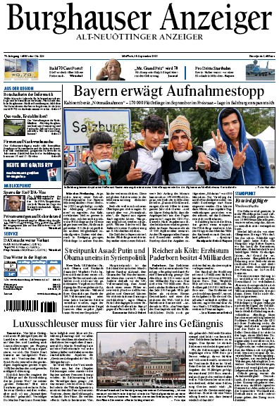 Front page of Burghauser Anzeiger newspaper from Germany