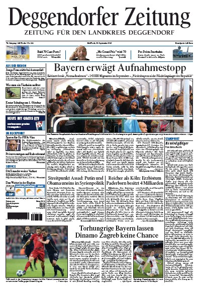 Front page of Deggendorfer Zeitung newspaper from Germany