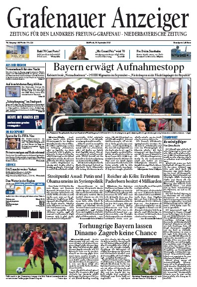 Front page of Grafenauer Anzeiger newspaper from Germany