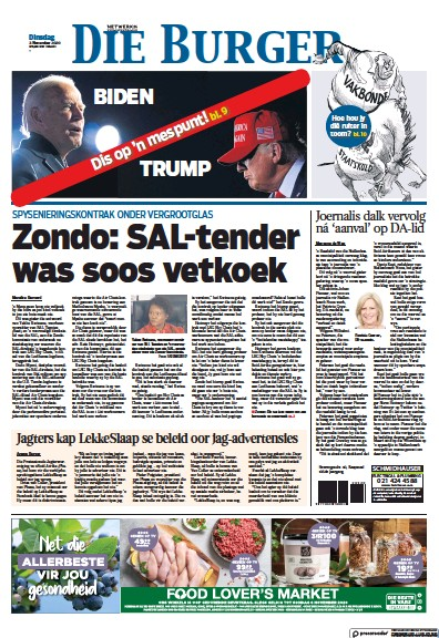Front page of Die Burger newspaper from South Africa