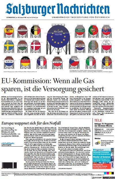 Front page of Salzburger Nachrichten newspaper from Austria