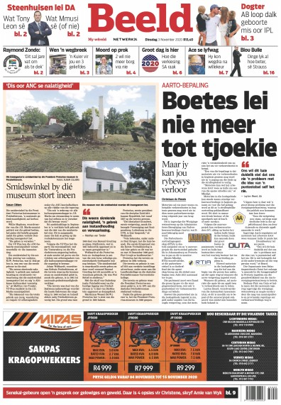 Front page of Beeld Digital newspaper from South Africa