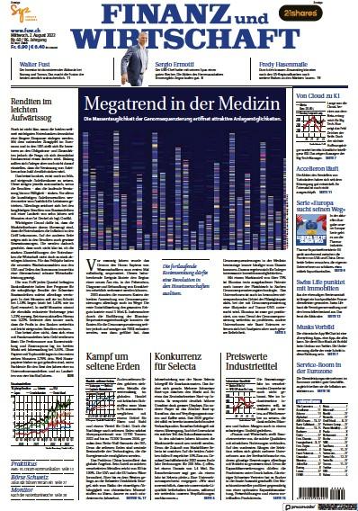 Front page of Finanz und Wirtschaft newspaper from Switzerland