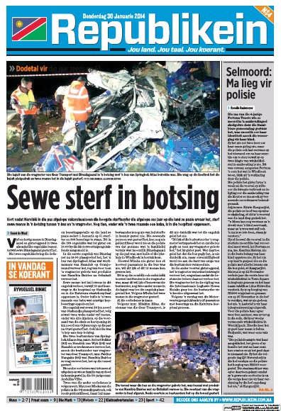 Front page of Republikein newspaper from Namibia