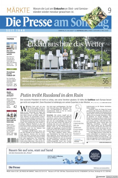 Front page of Die Presse am Sonntag newspaper from Austria