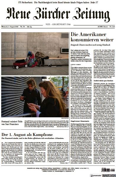 Front page of Neue Zurcher Zeitung Swiss Edition newspaper from Switzerland