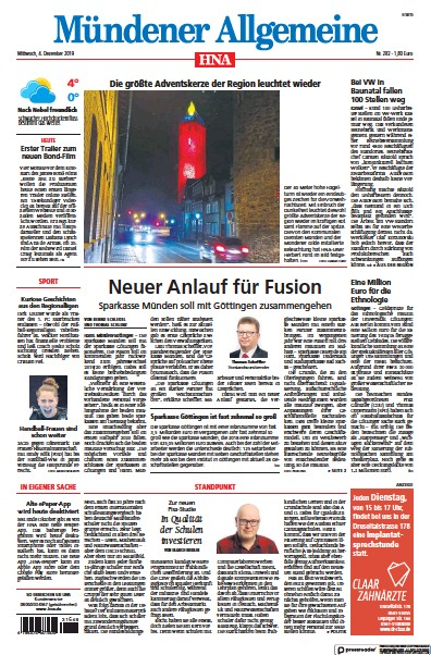 Front page of HNA Muendener Allgemeine newspaper from Germany