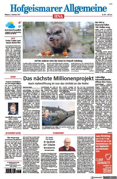 Front page of HNA Hofgeismarer Allgemeine newspaper from Germany