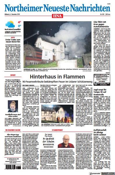 Front page of HNA Northeimer Neueste Nachrichten newspaper from Germany