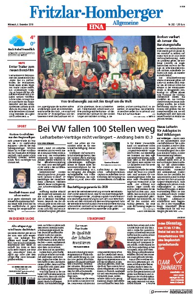 Front page of HNA Fritzlar-Homberger Allgemeine newspaper from Germany